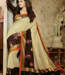 Buy Brown printed art silk saree with blouse art-silk-saree online