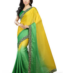 Buy Yellow and Green embroidered Satin saree with blouse satin-saree online