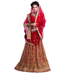 Buy Red embroidered net unstitched bridal-lehengas bridal-lehenga online