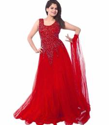 Buy red net semi stitiched party wear gowns party-wear-gown online