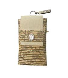 Buy Brocade Mobile Cover With Dainty Almond Brooch (Light Gold) wallet online
