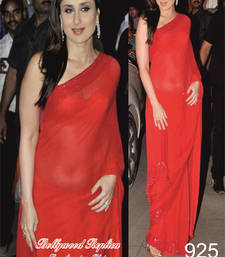 Buy DESIGNER KAREENA KAPOOR KHAN RED CHIFFON SAREE party-wear-saree online
