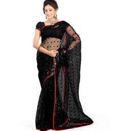 Buy Black embroidered net-sarees saree with blouse net-saree online
