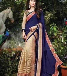 Buy Blue embroidered georgette  saree with blouse tissue-saree online