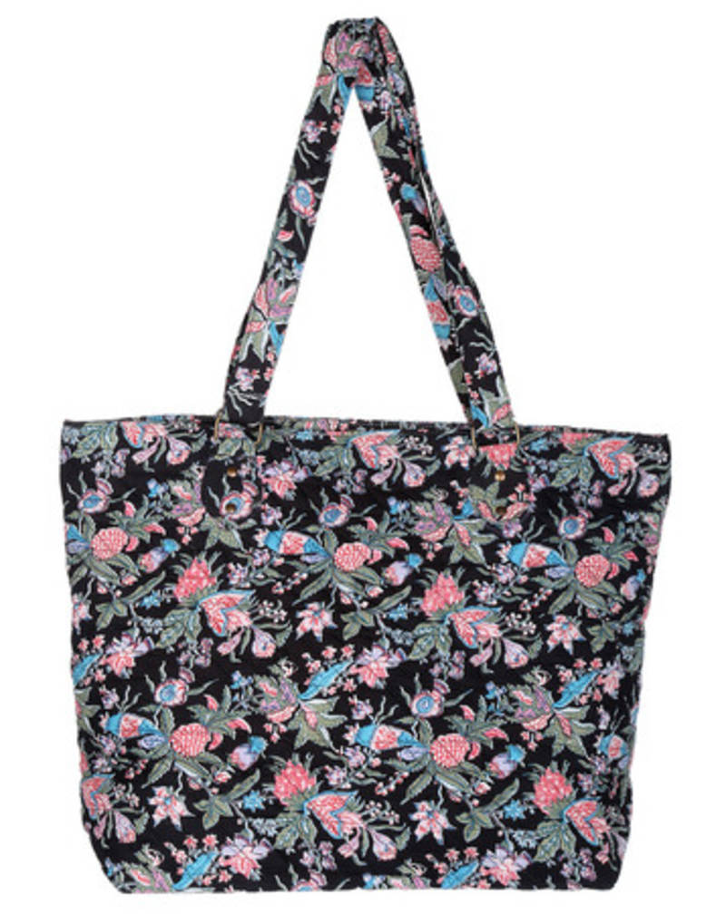 Buy Black Cotton Floral Machine Quilted Tote Bag Online