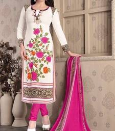 Buy Cream printed Crepe unstitched salwar with dupatta dress-material online