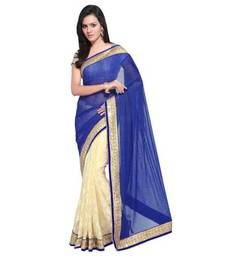 Buy Blue and cream plain net saree with blouse brasso-saree online