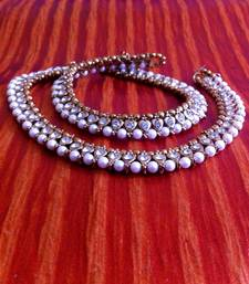 Buy White Diamentes Pearl Payal or Anklet- Ethnic Indian Bollywood Jewelry b159 anklet online