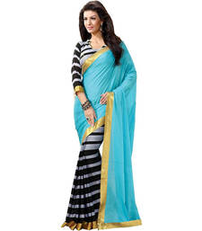 Buy Multicolor printed cotton saree with blouse bhagalpuri-silk-saree online