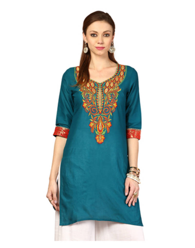 Buy blue embroidery cotton kurtis online
