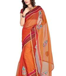 Buy ISHIN Tissue Net Orange color  saree  ISHI-31 tissue-saree online