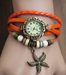 Buy Orange Leather Charms Watch gifts-for-her online