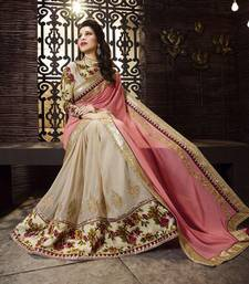Buy Light pink and beige embroidered georgette saree with blouse party-wear-saree online
