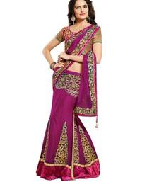 Buy Dark pink embroidered net saree with blouse lehenga-saree online