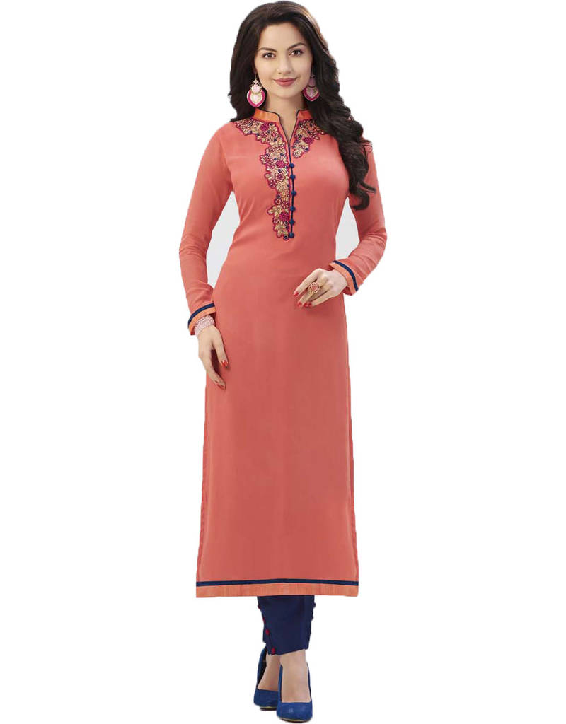 Bed sheets designs for kids - Buy Peach Embroidered Georgette Straight Long Kurti Online