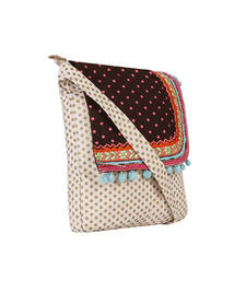 Buy Gold and pink dot canvas sling bag with brown top and embroidery sling-bag online