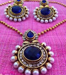 Buy Bold blue stone pearl polki pendant set dds c283b necklace-set online