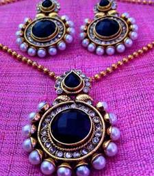 Buy Deep black stone pearl polki pendant set c283k Necklace online