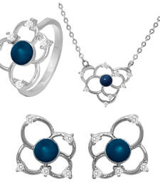 Buy Blue Flower Rhodium Plated Pendant Set with Ring for Women jewellery-combo online