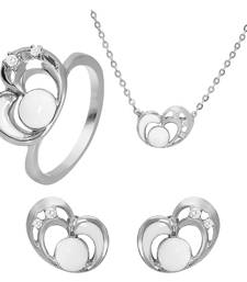 Buy White Heart Rhodium Plated Pendant Set with Ring for Women jewellery-combo online