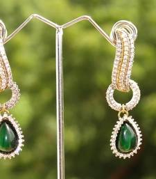 Buy Cz earrings with emerald drop danglers-drop online