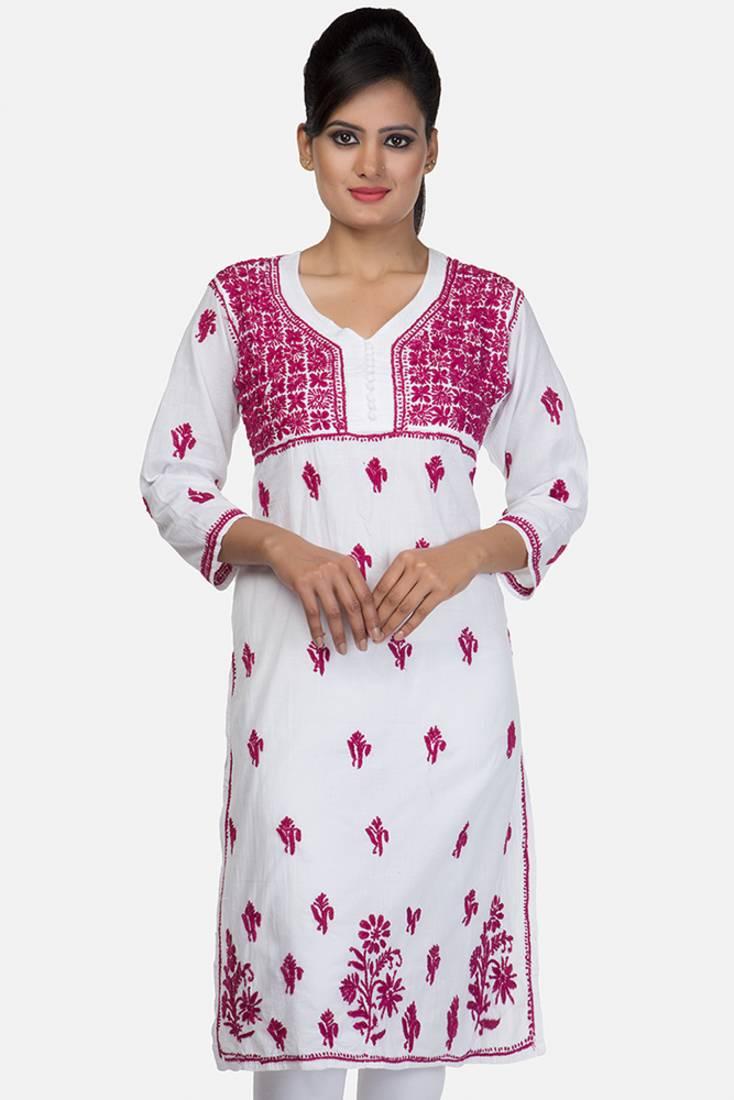 Buy Hand Embroidered X-Small White Cotton Lucknowi Chikankari Kurti Online