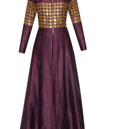 Buy Purple Raw Silk embroidered semi stitiched party wear gown party-wear-gown online