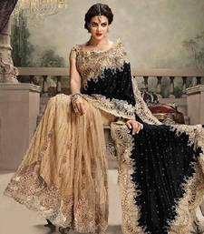 Buy Cream and Black embroidered net and velvet saree with blouse party-wear-saree online