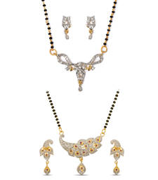 Buy Beautiful American Diamond Studded Gold Plated Mangalsutra jewellery-combo online