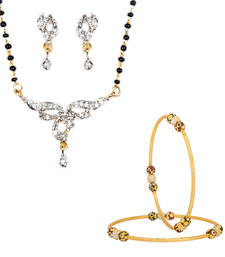 Buy Lovely American Diamond Studded Gold Plated jewellery-combo online