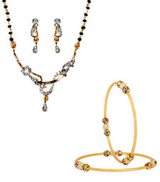 Buy Sparkling American Diamond Studded Gold Plated jewellery-combo online