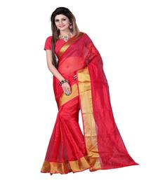 Buy red printed art silk saree with blouse below-400 online