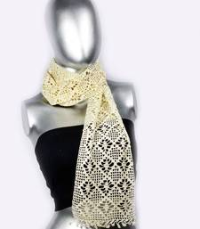 Buy Butterfly Pattern Crochet Stole | Vanilla Cream stole-and-dupatta online