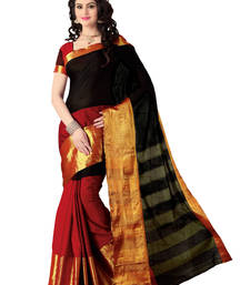 Buy Black and Maroon Printed Cotton Silk Saree cotton-saree online