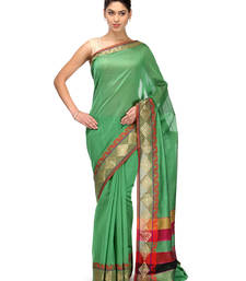 Buy green woven chanderi saree with blouse banarasi-saree online