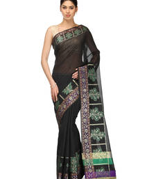 Buy black woven chanderi saree with blouse banarasi-saree online