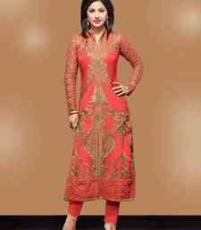 Buy Peach Georgette embroidered semi stitiched salwar with dupatta party-wear-salwar-kameez online