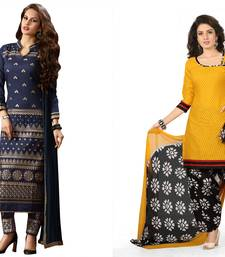 Buy Navy blue and yellow embroidered and printed cotton unstitched salwar with dupatta salwar-combo online