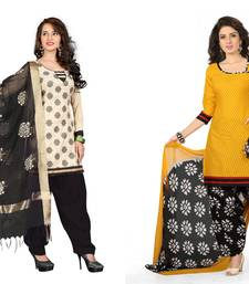 Buy Cream and yellow embroidered and printed jute and polycotton unstitched salwar with dupatta salwar-combo online