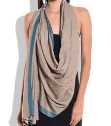 Buy Beige Pure Wool Shawl with Teal Silk Border shawl online