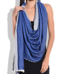Buy Reversible Blue and White Pure Wool Shawl shawl online