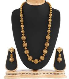 Buy Antique Pearl Golden Ball Mala Imitation Jewellery Necklace necklace-set online
