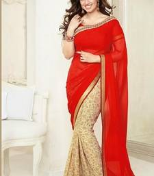 Buy Red and cream printed georgette saree with blouse with blouse georgette-saree online