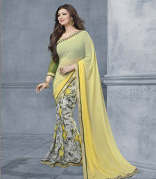 Buy Yellow and grey printed georgette saree with blouse with blouse georgette-saree online