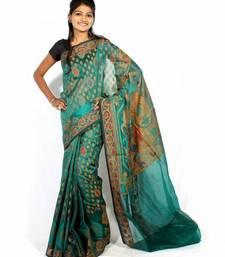 Buy Organza cotton fancy banarasi saree banarasi-saree online