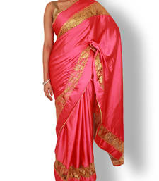 Buy pink plain satin saree with blouse satin-saree online