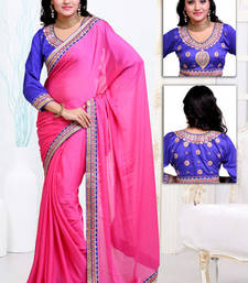 Buy Pink embroidered crepe saree with blouses saree with blouse crepe-saree online