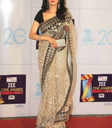 Buy Beige embroidered net saree with blouse with blouse sridevi-saree online