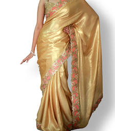 Buy gold  satin saree with blouse satin-saree online
