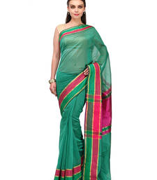 Buy rama green woven faux cotton saree with blouse banarasi-saree online